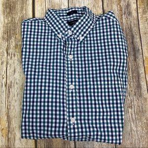 J Crew Blue/Green Check Long Sleeve Shirt, Slim S